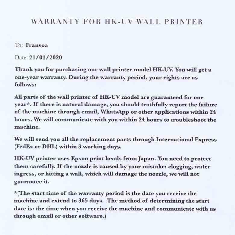 Warranty for wall printer machine in details.