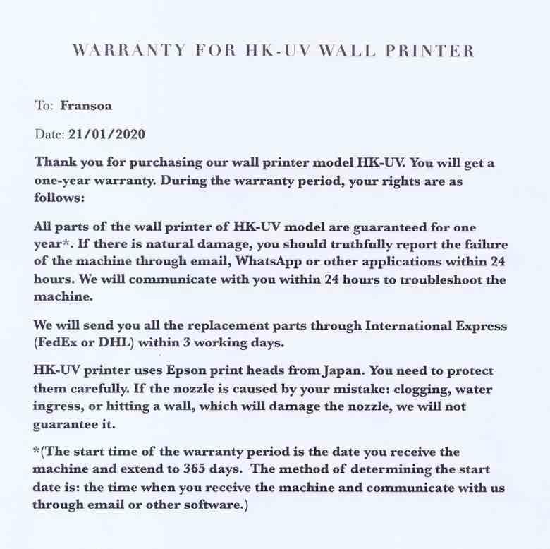 Garantie für Wanddrucker im Detail.